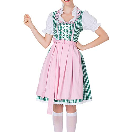 Togethor German Dirndl Dress Beer Festival Cosplay Costumes for Oktoberfest Halloween Carnival for Women Green