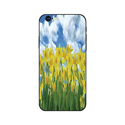 - Phone Case Compatible with iphone6 iphone6s mobile phone covers phone shell Brandnew Tempered Glass Backplane,Daffodil Decor,A Field of Daffodil Flowers Blooms Against Summer Sky Cloudscape Picture Pr