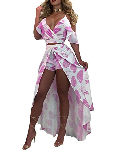 Knight Horse Women's Sexy V Neck Floral Printed Ruffles Crop Two Piece Maxi Dress Rose M