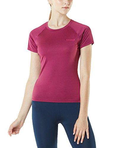 Tesla TM-FUB03-PLM_Medium Womens Round Neck Top Short Sleeve Lightweight Sports T-Shirt FUB03