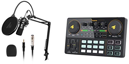 Maono AU-AM200 ALL-IN-ONE Podcast Production Studio, Audio Interface with DJ Mixer and Sound Card + AU-A03 Condenser Microphone Kit Podcast Mic with Boom Arm Microphone Stand