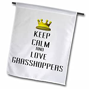 """3dRose fl_121092_1 Gold Crown Keep Calm and Love Grasshoppers Garden Flag, 12 by 18"""""""