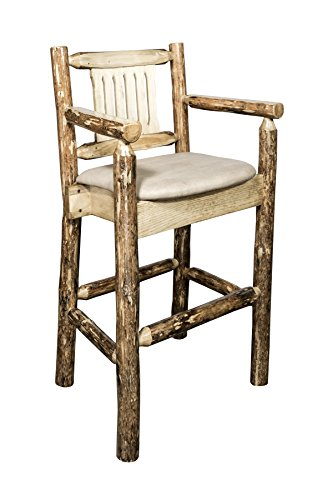 Montana Woodworks MWGCBSWCASBUCK Glacier Country Collection Captain's Barstool with Upholstered Seat, Buckskin Pattern