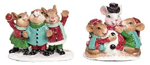 Transpac Mini Resin Mice Caroling Playing Figurines Set of 2 Christmas Decor New (Figurine Caroling Christmas Set)