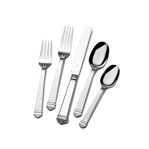 Towle 5196756 Colonnade 45-Piece Stainless Steel Flatware Set with Hostess Serveware, Service for 8
