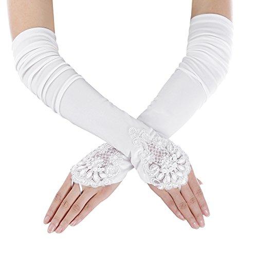 Long White Polyester Gloves (Bridal's Fingerless Satin Lace Gloves For Wedding White L/XL)