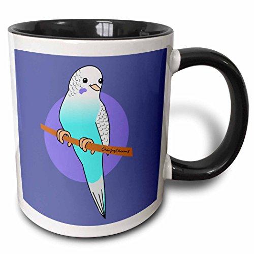 3dRose InspirationzStore Bird Designs - Cute Blue Budgie - Happy Cartoon Budgerigar parrot - kawaii cartoony design by Chirpy Chums - 11oz Two-Tone Black Mug (Chirpy Bird)