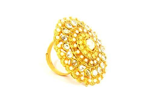 Jessica Elegant, Beautiful Cocktail Ring -Gold Plated Studded with Pearls & Diamonds- Adjustable to Any Size