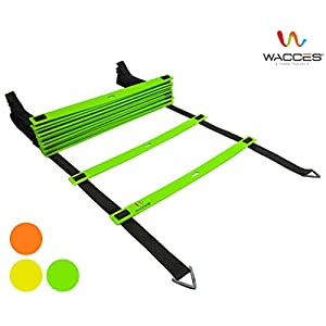 Wacces Adjustable Agility Ladder for Soccer, Speed, Football, Fitness with Carry Bag ( 8 Rungs - Green )