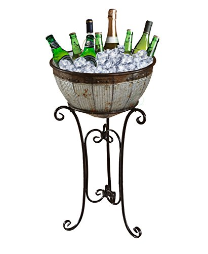 Galvanized Metal Beverage Cooler Tub with Stand by Vintiquewise