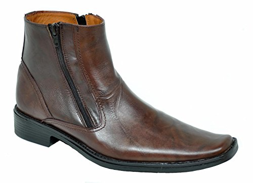 Baronett Men's Dress Ankle Dual Zip Genuine Leather Boots 7923-1 (9.5, Brown)