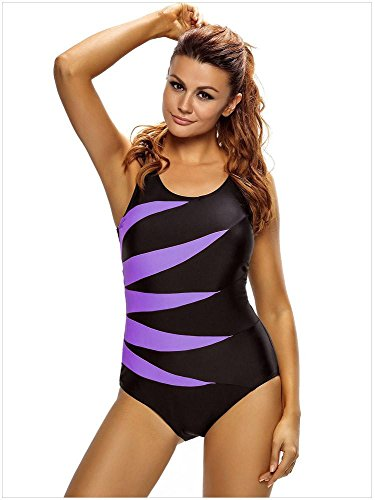 Erica Mujeres de talla grande de playa una pieza bikinis traje de baño Contraste patchwork inalámbrico acolchado Bra traje de baño #5
