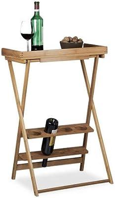 Relaxdays, Marrón, 80 x 58 x 27,5 cm botellero Vino con Mesa ...