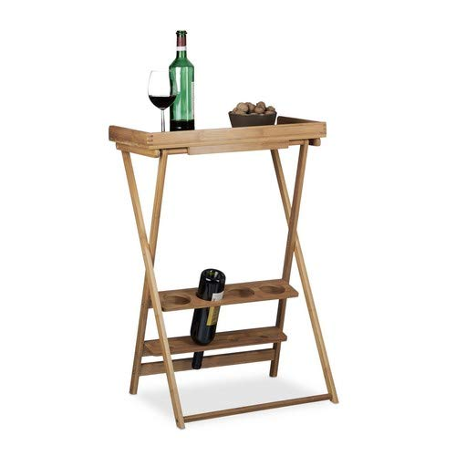 Relaxdays Wine Rack with Shelf, Bamboo, Folding Table, 4x Bottle Holders, 4x Glass Holders, Light, HxWxD: 80 x 58 x 27.5 cm, Natural Brown