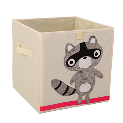 Storage Bins Foldable Cube Box - MURTOO - Eco Friendly Fabric Storage Cubes Origanizer for Kids Toys Cloth Fit IKEA Shelves, 13 inch (Raccoon)