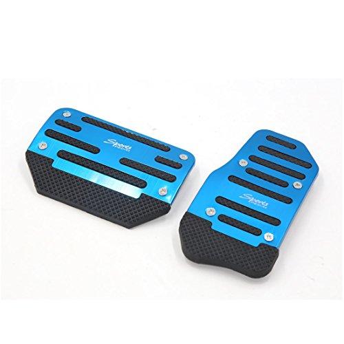 Brake Pad Gas - uxcell 2pcs Metal Plastic Blue Non-slip Gas Brake Pedal Cover Pad for Car Vehicle