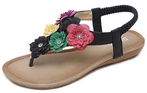 (Women's Summer Floral Sandals Bohemian Sweet Look T-Strap Black Flat Sandals Glittery Rhinestone Thong Shoes for Wedding Brides Bridesmaid Dress Beach Vacation Anti-Skid Cruise Holiday Colorful)