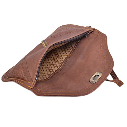 Brown Carved Bag Moroccan Moroccan Artisanal Leather Handmade Free Genuine Souvenir Gift Clutch Nice Leather Wallet Handmade ZxHYTqPwdH
