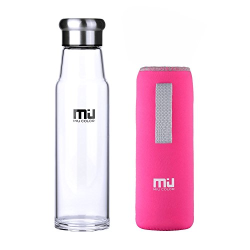 MIU COLOR 24.5 oz Glass Water Bottle - Eco-friendly Borosilicate Glass, BPA, PVC and Lead Free, Portable with Rose Red Nylon Sleeve- - Miu Free