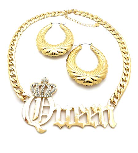NYFASHION101 Stone Stud Crown Queen Pendant Chain Necklace and Textured Oval Hoop Door Knocker Earrings Set in Gold-Tone