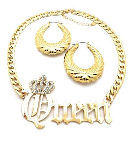 NYFASHION101 Stone Stud Crown Queen Pendant Chain Necklace and Textured Oval Hoop Door Knocker Earrings Set in Gold-Tone (Textured Pendant Oval)