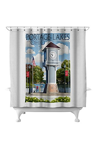 Portage Lakes, Ohio - Clock Tower (71x74 Polyester Shower Curtain) (Pottery Barn Clock)