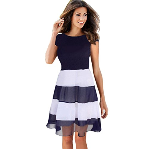 Flare Flatware (Gillberry Ladies Womens O-Neck Chiffon Stripe Dress Evening Party Dress (M=Asian L, Blue))