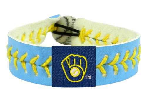 Gamewear Bracelet (MLB Milwaukee Brewers Columbia Blue Team Color Baseball Bracelet)