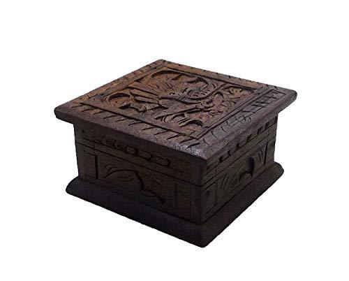 (AMN Product Wooden Gift Box Decorative Jewelry Trinket Organizer Keepsake Storage Hand Carved Peacock Bird Design)