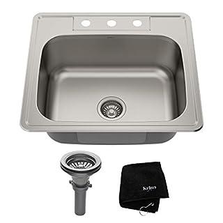Kraus KTM25 25 inch Topmount Single Bowl 18 gauge Stainless Steel Kitchen Sink (B005HH0Z2O)   Amazon price tracker / tracking, Amazon price history charts, Amazon price watches, Amazon price drop alerts