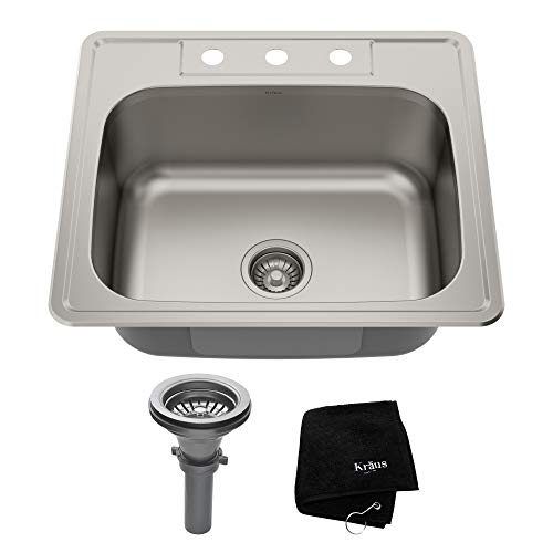 - Kraus KTM25 25 inch Topmount Single Bowl 18 gauge Stainless Steel Kitchen Sink