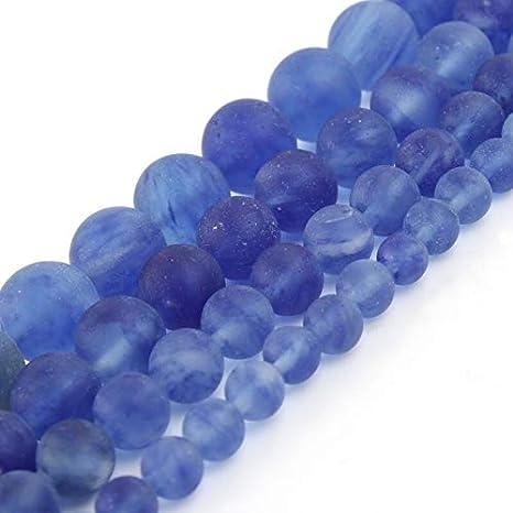 haoyushangmao Cristal Azul Mate Perlas Naturales de Cuarzo los Granos de Piedra Redondos de fabricación de la joyería de los Pendientes DIY Collar de Las Pulseras de 15 Pulgadas 6 8 10 12 mm