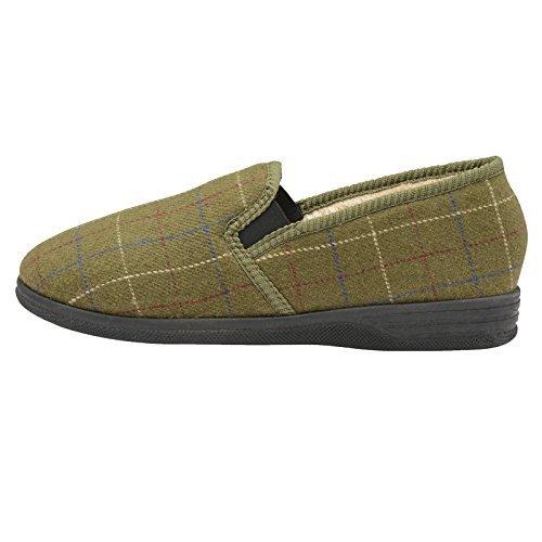 Dunlop Herren Amauri oder Amadour Kariert Gemustert Pantoffeln Olive - grün