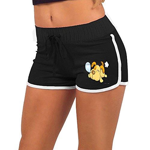 Quliuwuda Women's Cartoon Cute Animal Sleeping Puppy Black Athletic Gym XL Adjustable Low Waist Hot (Hottie Hot Pants)