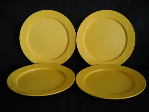 Tupperware Set of 4 Yellow Round Plates