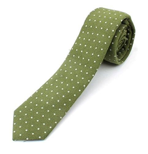 Men's Cotton Skinny Necktie Tie Polka Dot Pattern Textured Fabric Vintage Look - Olive