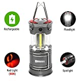 Rechargeable Lantern Flashlight, COSOOS Bright Camping LED Lamp with built-in 2000mAh Li-ion Battery, 4 light Mode, Red Light, Best for Camp, Tent, Kids,Hiking,Fishing, Support AA Battey(Not Included)