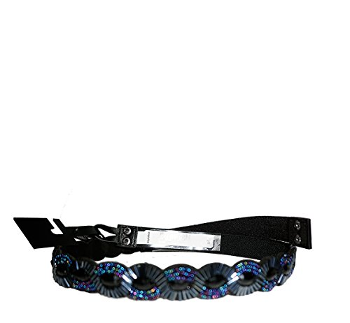 Style Co. Scalloped Beaded Stretch Belt Multicolor Blue and Black Lxl - Black Beaded Belt