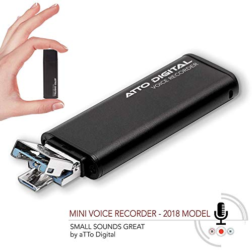 Slim Voice Activated Recorder – USB Flash Drive | 26 Hours Battery | 8GB - 94 Hours Capacity | 512 Kbps Audio Quality | Easy to Use USB Memory Stick Sound Recorder | lightREC by aTTo Digital ()