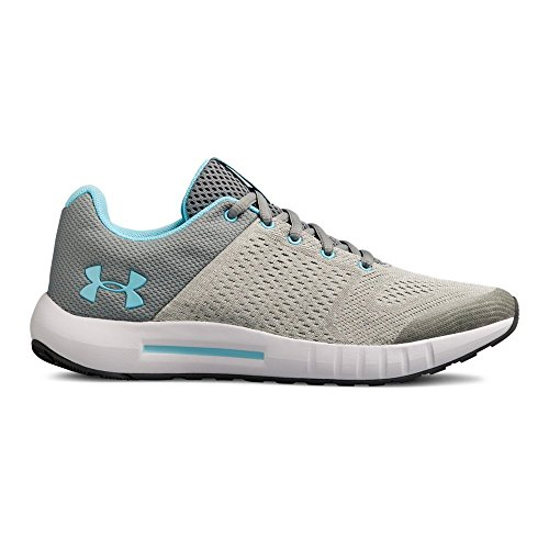 Under Armour Girls' Grade School Pursuit Sneaker, Steel (104)/Elemental, 6.5