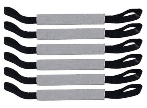 Bundle of 6 Firm Flat Rolled Leather 10'' Tug Toy 2 Handles Redline K9