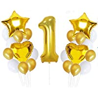 1 One Year Old Baby Infant Birthday Party Decor Supply Foil Star Balloons Set Gold