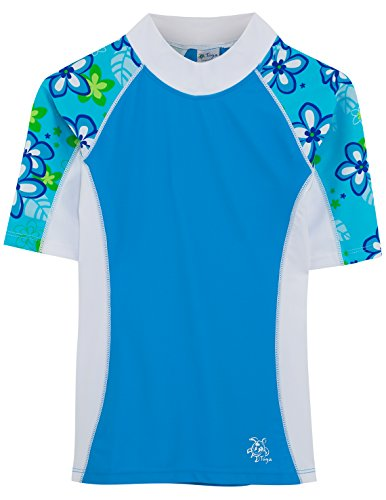 Tuga Girls Seaside S/S Rash Guard (UPF 50+), Aquamarine, 4/5 yrs by Tuga Sunwear