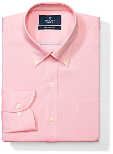 BUTTONED DOWN Men's Slim Fit Button-Collar Solid Non-Iron Dress Shirt (Pocket), Pink, 15
