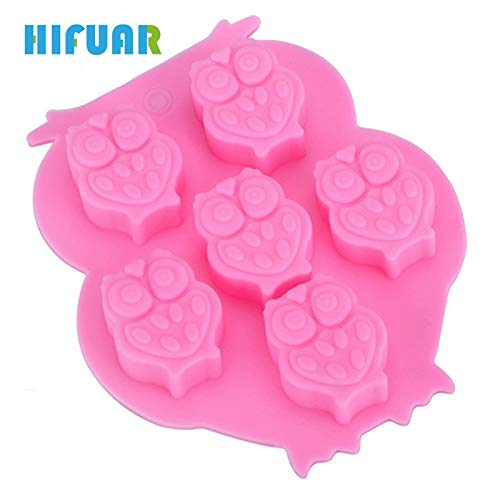 1 piece Hifuar 6 Cups Cake Cookie Icecream Sweet Moulds 3D Animal Owl Shape Chocolate Silicone Molds 1PCS New Bakeware Cake Tools -