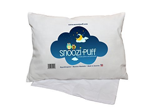 SnooziPuff Toddler pillow with pillowcase. HYPOALLERGENIC. 14X19. Made in USA.