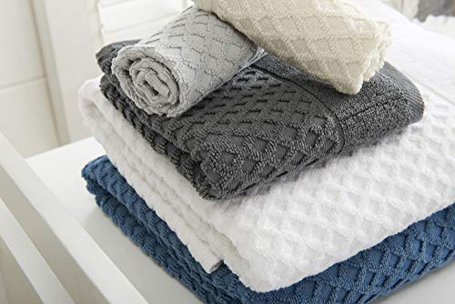 Great Bay Home 100% Cotton Quick-Dry Bath Towel Set (30 x 52 inches) Highly Absorbent, Textured Luxury Bath Towels. Grayson Collection (Set of 4, Optic White) - AFFORDABLE BUNDLE: 4-pack of plush bath towels with a classic and simple pique border and woven detailed pattern. 4 Bath Towels (30 inch x 52 inch) QUICK-DRY, TEXTURED, LATTICE WAFFLE WEAVE: Our Grayson towels are designed to absorb more liquid than ordinary towels, and they dry quickly and completely. SUPER SOFT: These cotton bath towels feel super soft against your skin. Plus, they add a clean and modern look to your bathroom. - bathroom-linens, bathroom, bath-towels - 41szihbTXNL -