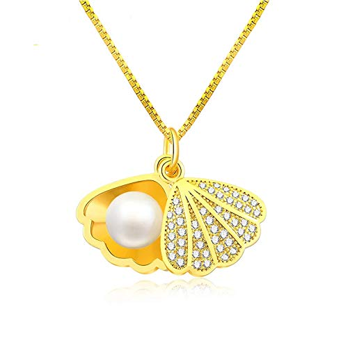 Round White Freshwater Cultured Pearl Pendant 6mm Embedded Bare Beads Alloy Chain and Shell Half-enclosed Ladies Accessories Gifts for Daughter Girlfriend Wife Thanksgiving Mothers (pearl necklace) ()
