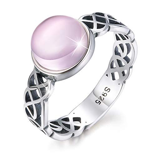 Esberry 18K Gold Plating 925 Sterling Silver Celtic Knot Rings with Natural Stone Cross Rings for Women and Girls (Antique Silver-Rose Quartz, 8.5) ()