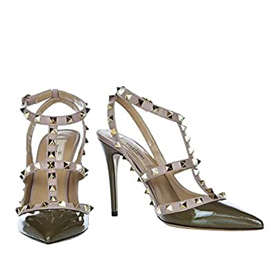 Valentino Rockstud Army Green Patent Leather 100mm Ankle Strap Pump (36)